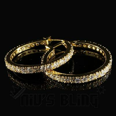 18K Gold Bling Out Iced AAA Simulate Diamond Micropave Huggie Hoop Earring H5G