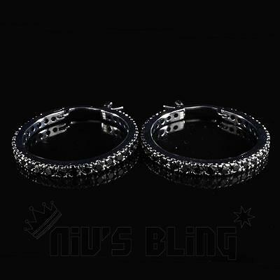 18K Black Gold Out ICED AAA Lab Diamond Micropave Huggie Hoop HipHop Earring H5M