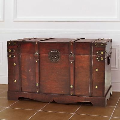 Vintage Antique Style Large Wooden Treasure Chest Steamer Trunk Storage Box US