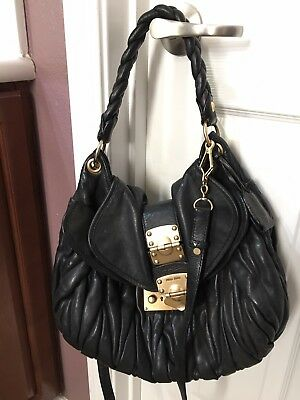 4ce8918cba MIU MIU BLACK Coffer Matelasse Leather Hobo Handbag -  117.50