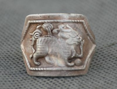 Chinese  Miao Silver Dynasty  Kylin Beast Qilin FingerRing Adjustable 25mm .984""