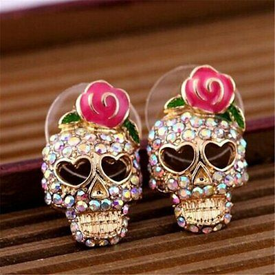 Vintage Pink Rose Crystal Skeleton Skull Ear Stud Earrings Gift Party Jewelry