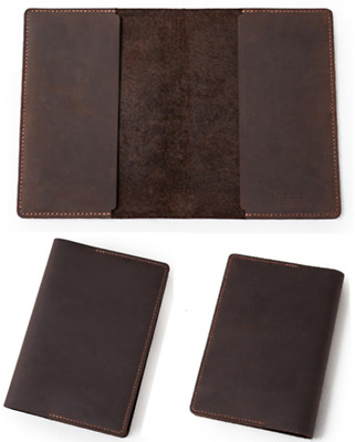 book jacket cover slipcase genuine cow leather customize handmade brown Z887