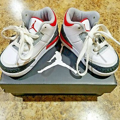 0f77d956a69 Air Jordan Retro 3 Fire Red Toddler 6C Nike Sneakers Baby Shoes White With  Box