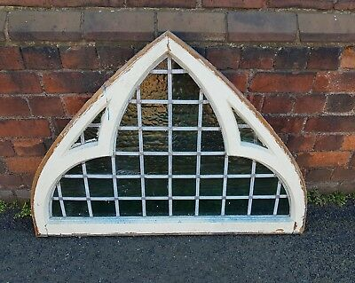 Reclaimed Arched Antique feature Window Stained leaded glass fanlight Garden