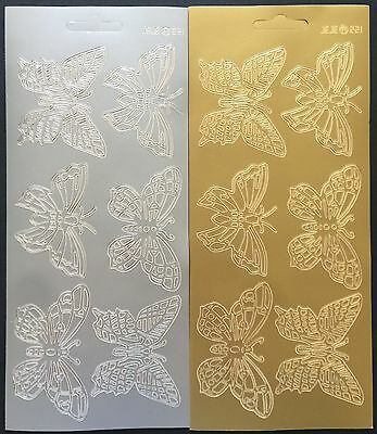 75mm Butterfly Peel Off Stickers Sticker Card Making Scrapbooking Gold Silver