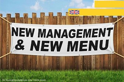 New Management and New Menu Black Heavy Duty PVC Banner Sign 3315