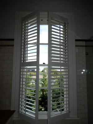 SHUTTERS – CENTRE OPENING TIMBER PLANTATION SHUTTERS 960w x 1900h, removed, 7h