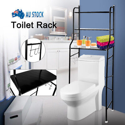 3 Tier Over Toilet Bathroom Storage Rack Shelf Organizer Space Saver Black