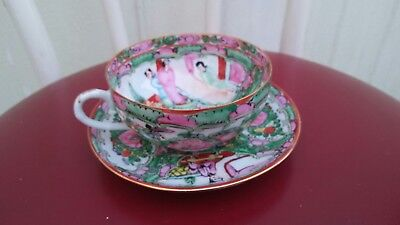 Hongkong Vintage Guang Color Thin Porcelain Cup and Dish of People and Flowers