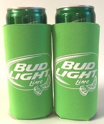 BUD LIGHT LIME Koozie Fits 12 oz Slim Can CLASSIC LOGO ~ Set Of Two (2) New & FS