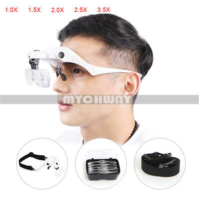 Head Magnifier 2 LED Lights Magnifying Glass Hands Free LED Lamp Headband White