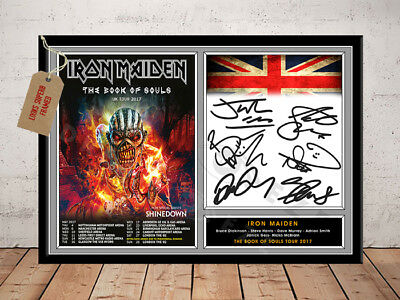 Iron Maiden Book Of Souls Tour 2017 Autographed Signed Photo Print