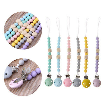 Infant Baby Toddler Dummy Pacifier Wooden Soother Nipple Clip Chain Holder Strap