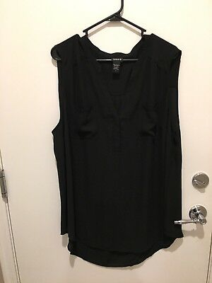 Torrid Sleeveless Black Blouse Sz 3 Hi Low light top semi sheer 2 pocket