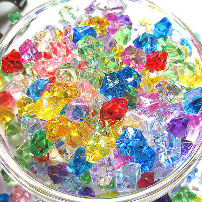 100Pcs Beads Acrylic Crystal Stone Bead Clear Decor Party Crafts DIY Material