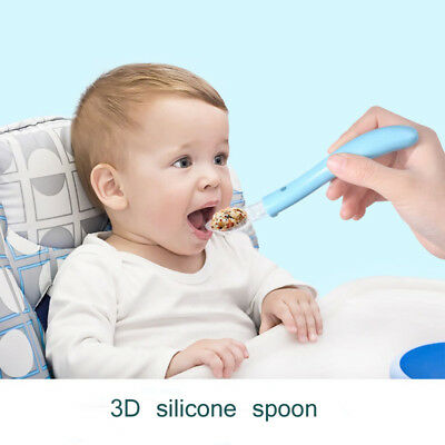 Tableware Safe Food For Training Flatware Baby Silicone Spoon Feeding Soft  NEW