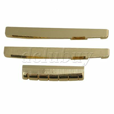 Golden 7.6cm Bridge Saddle and Nut for Folk Guitar Replacement Brass