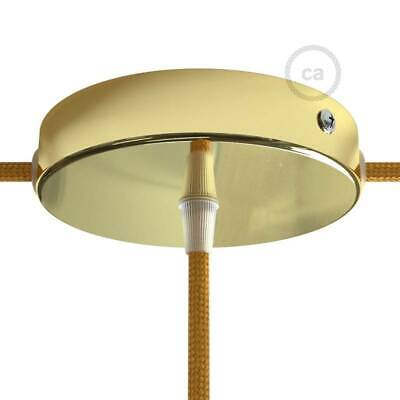 Brass metal 120 mm ceiling rose kit with one central hole and 2 side holes, acce