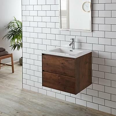 Leno 600mm Rosewood Two Drawer Wall Mounted Vanity Cabinet with Basin Set