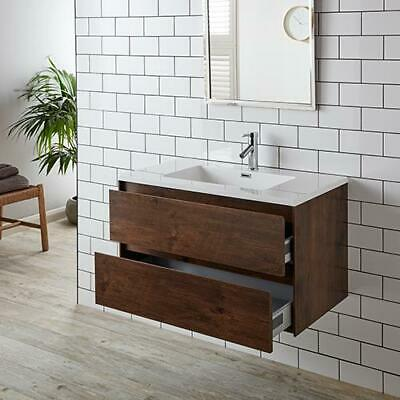 Leno 900mm Rosewood Two Drawer Wall Mounted Vanity Cabinet with Basin Set
