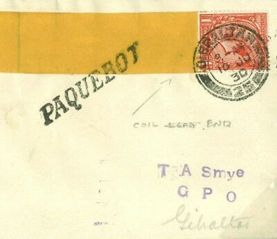 K60a 1930 GB Used Abroad GIBRALTAR *Paquebot* KGV 1d COIL END VARIETY Cover
