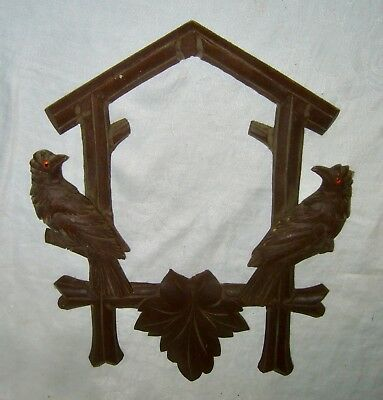 Vintage ~ Antique German Carved Cuckoo Clock Case Front Frame Birds W/ Glass Eye