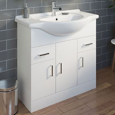 850mm Bathroom Vanity Unit & Basin Sink Floorstanding Gloss White Tap + Waste