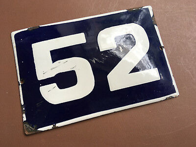 ANTIQUE VINTAGE EUROPEAN ENAMEL SIGN HOUSE NUMBER 52 DOOR GATE SIGN 1950's