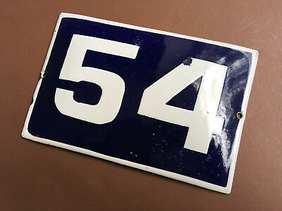 ANTIQUE VINTAGE EUROPEAN ENAMEL SIGN HOUSE NUMBER 54 DOOR GATE SIGN 1950's