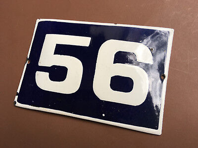 ANTIQUE VINTAGE EUROPEAN ENAMEL SIGN HOUSE NUMBER 56 DOOR GATE SIGN 1950's