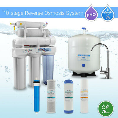 10 Stage Home Undersink Alkaline + Reverse Osmosis RO Mix Housing System 75 GPD