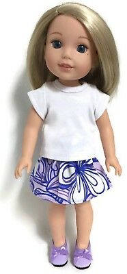 """Lavender White Scallop Shoes made for 14.5/"""" American Girl Wellie Wisher Doll"""