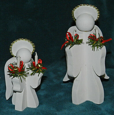 ADORABLE PAIR OF NICE WHITE HAND CRAFTED WOOD ANGELS!! COLLECTIBLE! Christmas