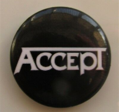 ACCEPT NAME LOGO BLACK VINTAGE METAL BUTTON BADGE FROM THE 1990's