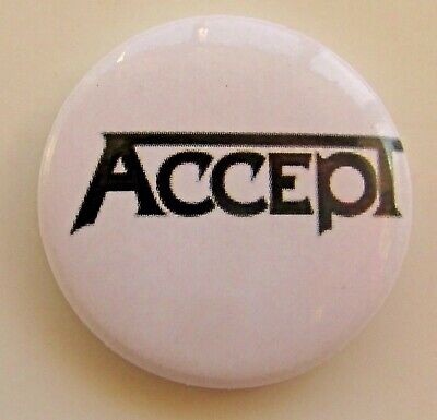 ACCEPT NAME LOGO WHITE VINTAGE METAL BUTTON BADGE FROM THE 1990's