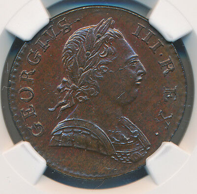 Great Britain George Iii 1/2 Penny 1774 Ngc Ms62 Bn