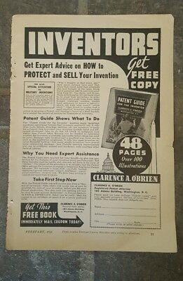 """1941 Print Ad-Free Book """"Patent Guide for the Inventor""""-Clarence A. O'Brien"""