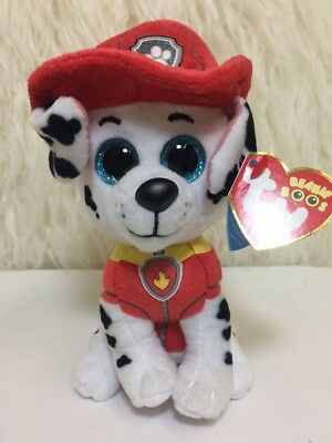 Ty Beanie Boos Paw Patrol Marshall Dalmatian Dog Big Eyes Stuffed Animal W/ Hat