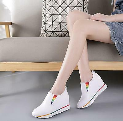 Women Hollow Out pu Leather Bee Embroidery Buckle Shoes Mid Hidden Wedge Heel sz