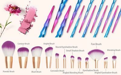 10 pcs Galaxy Unicorn Spiral Make Up Brushes Set Face Foundation Powder Blusher