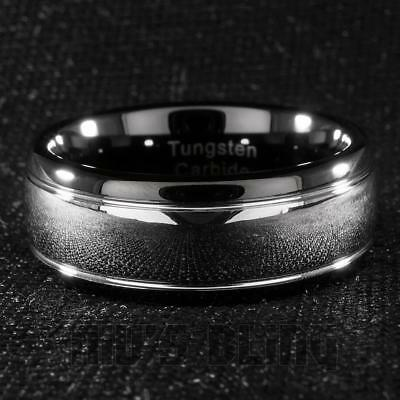 Tungsten Carbide Wedding Band Black Silver Dome Gunmetal Bridal Ring Men 8MM