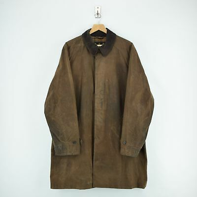 Vintage Barbour Merton Mac Brown Wax Cotton Three Quarter Coat XL