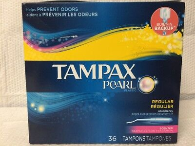 Tampax Pearl Regular Absorbency Plastic Applicator 36 Scent Tampon Prevent Odors