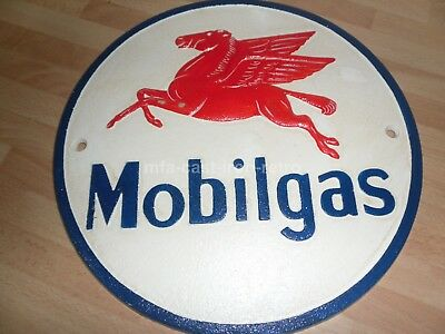 Cast Iron Mobilgas Sign Plaque