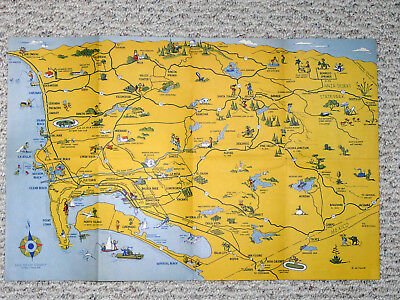PICTORIAL TOURIST MAP of San Diego (CA) City & County~Circa 1950 ...