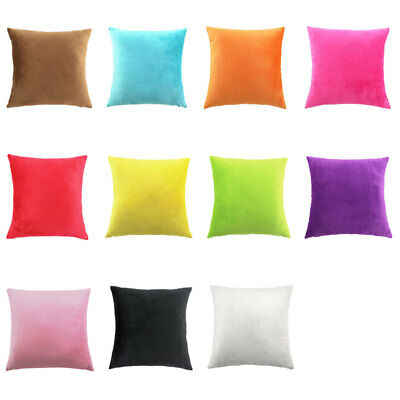Bright Color Solid Velvet Cushion Cover Home Office Car Pillow Case 45cmx45cm