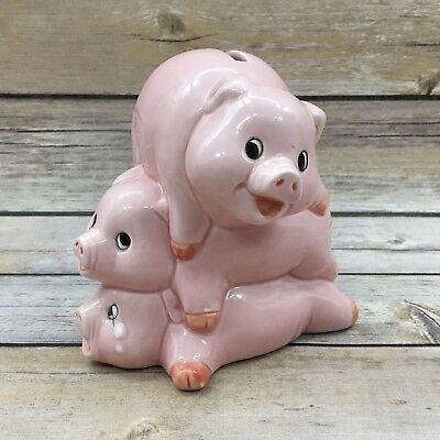 Vintage Papel Ceramic Three Little Stacked Pigs Piggy Bank