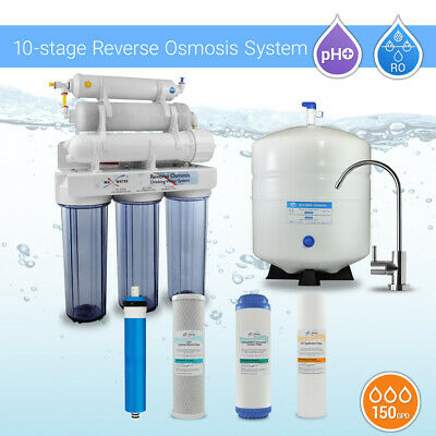 10 Stage Home Undersink Alkaline + Reverse Osmosis RO Water Filter System 150GPD