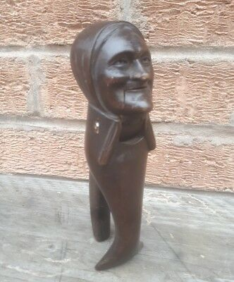 Antique Black Forest Hand Carved Old Woman Nut Cracker Nutcracker Stands Up Folk